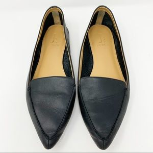 J.Crew Black Leather Point Toe 'Edie' Flats Loafer